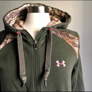 Under Armour Green Semi-Fitted Zip Camo Hoodie M14